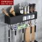 太空铝厨房收纳架多功能壁挂置物架筷子架调味架刀架加厚厨具架